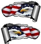 Small Pair Ripped Torn Metal Gash Design & American Eagle & US Flag Vinyl Car Sticker 93x50mm each
